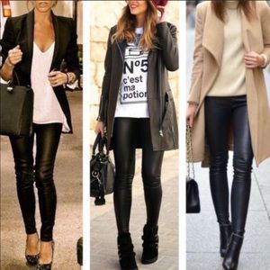 Pants - Plus Size Faux Leather Leggings tummy Control 1-3X